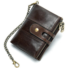 Cool Brown Leather Men's Biker Chain Wallet Black Small Wallet with Chain For Men