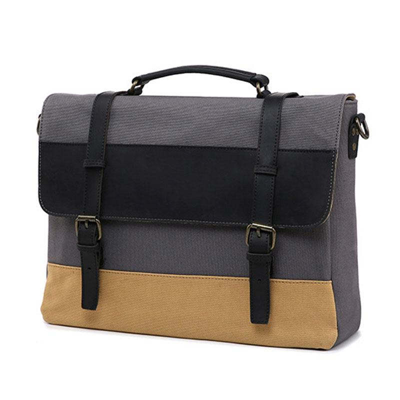 Mens Canvas Leather Briefcase Handbag Work Bag Business Bag for Men