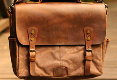 Genuine Leather Mens Cool Canvas Messenger Bag iPad Bag Chest Bag Bike Bag Cycling Bag For Men