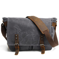 Waxed Canvas Leather Mens Black Waterproof 14'' Computer Side Bag Messenger Bag For Men
