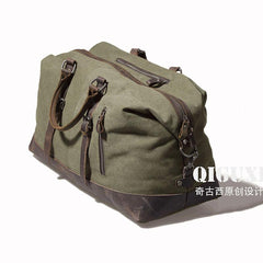 Mens Waxed Canvas Leather Weekender Bag Canvas Overnight bag Travel Bag for Men