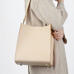 Fashion Beige Leather Women Handbag Tote Box Tote Bag Box Shoulder Bag For Women