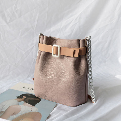 Stylish Leather Pink Chain Womens Bucket Purse Crossbody Bag Barrel Shoulder Bag for Women