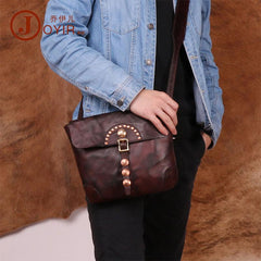 Cool Mens Leather Country Side Bag Small Saddle Messenger bag Shoulder bag For Men