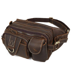 Vintage Large Brown Leather Men's Fanny Pack Brown Waist Bag Hip Pack For Men