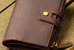 Genuine Leather Clutch Wallet Long Leather Wallet Bifold Wallet Bag For Womens