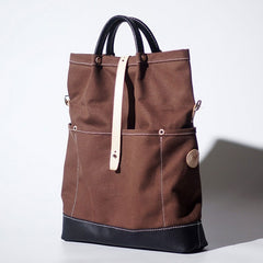 Handmade Canvas Leather Womens Tote Purse Handbag Tote Shopper Bag for Women