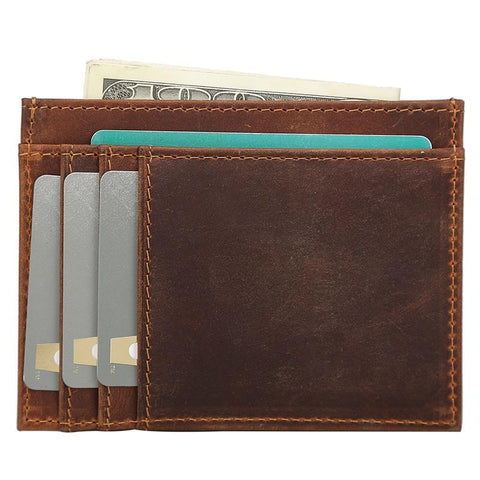 RFID Mens Leather Card Wallet Card Holder Front Pocket Wallet For Men