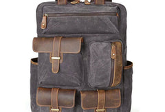 Genuine Leather Mens Cool Canvas Backpack Sling Bag Large Black Travel Bag Hiking Bag for men