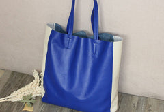 Genuine Leather Bag Handmade Color Block Tote Bag Shoulder Bag Handbag For Women