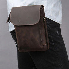 Cool Dark Brown Leather Mens Belt Pouch Small Side Bag Waist Belt Bag For Men
