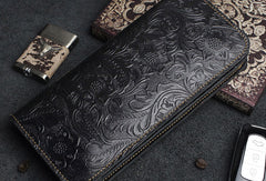 Handmade Long Leather Wallet Bifold Floral Leather Clutch Magnetic Button Wallet For Men Women