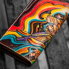 Handmade Leather Men Tooled Monkey King Cool Leather Wallet Long Phone Clutch Wallets for Men