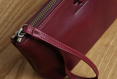 Genuine Leather Long Wallet Zipper Clutch Wallet Coin Change Makeup Wallet Purse For Women