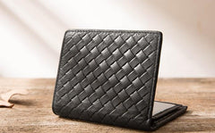 Braided Leather Mens Small Wallets Bifold Short Slim Front Pocket Wallet for Men