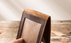 Coffee Cool Leather Mens Slim Small Wallets Bifold Vintage billfold Wallet for Men