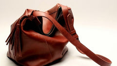 Vintage LEATHER WOMEN Bucket Bag SHOULDER BAG Purse with Tassel FOR WOMEN