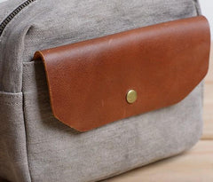Cool Mens Canvas Leather Side Bag Gray Courier Bag Messenger Bag for Men