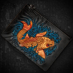 Handmade Leather Carp Tooled Wristlet Bag Mens Cool Leather Wallet Long Clutch for Men
