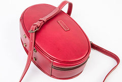 Leather Womens Round Handbag Crossbody Bag Shoulder Bag Purse For Women