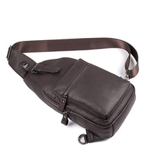 Black Leather Men's Sling Bag Coffee Chest Bag One Shoulder Backpack For Men