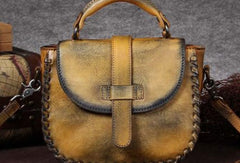 Genuine Leather Handbag Woven Vintage Crossbody Bag Shoulder Bag Purse For Women