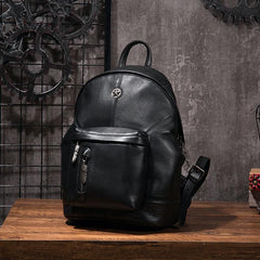 Cool Mens Black Leather School Backpack Travel Backpack Leather Hiking Backpack for Men