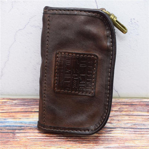Vintage Mens LEATHER Car Key Holder Zipper Key Wallet Key Holder for Men