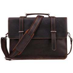 Vintage Brown Leather Men's Professional Briefcase Handbag 14'' Laptop Briefcase For Men