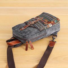 Canvas Mens Folk Gray Chest Bag One Shoulder Backpack Gray Sling Bag for Men