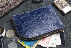 Handmade small leather change coin wallet flowral leather short wallet for men women