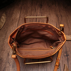 Vintage Brown Leather Handbag Tote Green Shopper Bag Shoulder Tote Purse For Women