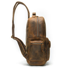 Cool Vintage Leather Mens 14inch Laptop Backpack Backpacks School Backpack Work Backpack for Men