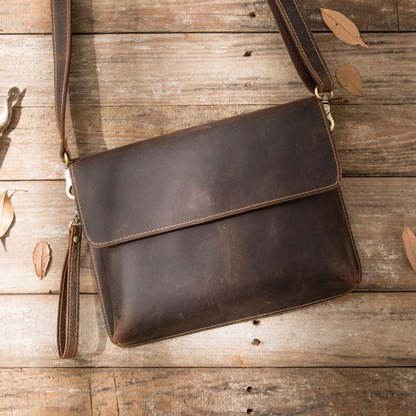 Vintage Leather Small Mens Cool Messenger Bags Small Shoulder Bag for Men