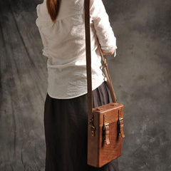 Handmade Vintage Coffee Leather Mens Messenger Bag Box Shoulder Bags for Men