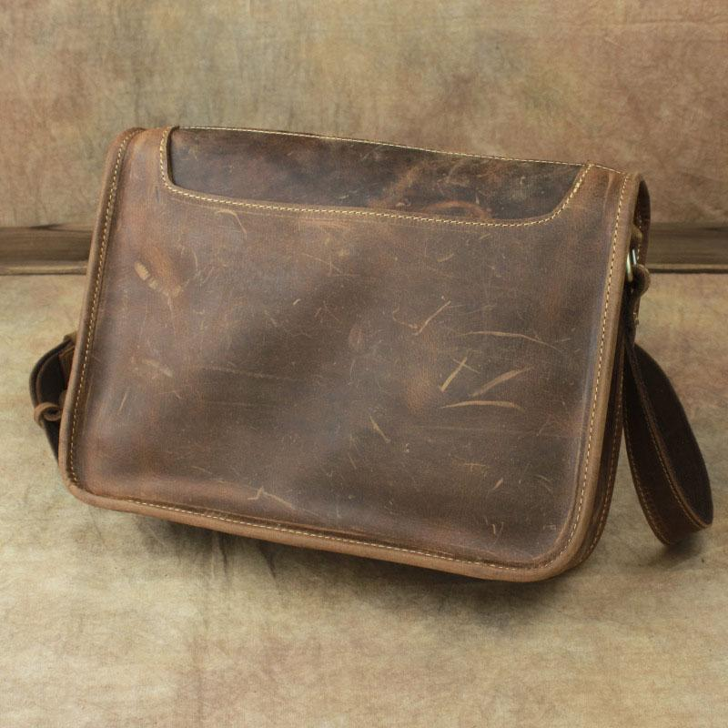 Casual Leather Brown Mens Vintage 10inch Side Bag Messenger Bag Shoulder Bags For Men