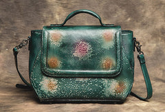 Genuine Handmade Bag Floral Vintage Leather Handbag Shoulder Bag Crossbody Bag Women Leather Purse
