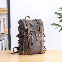 Cool Canvas Leather Mens Womens Dark Gray Backpack Army Green Travel Backpack College Backpack for Men