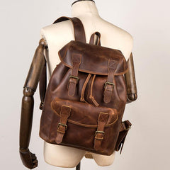 Casual Brown Leather Mens 15 inches Laptop Backpack Travel Backpack Brown School Backpack for Men