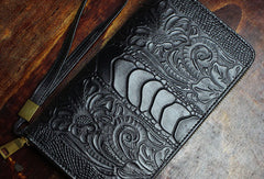 Handmade Long Leather Wallet Crocodile Style Leather Zip Clutch Wallet For Men Women