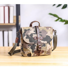 Camouflage Waxed Canvas Leather Mens Waterproof Side Bag Postman Bag Messenger Bag for Men