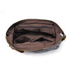 Cool Canvas Leather Mens Zipper Wristlet Bag Vintage Clutch Zipper Bag for Men