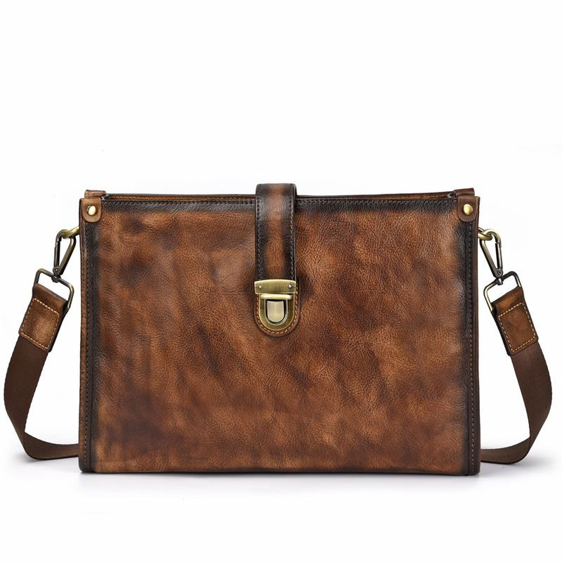 Vintage Brown Leather Men's Side Bag Messenger Bag 10'' Courier Shoulder Bag For Men