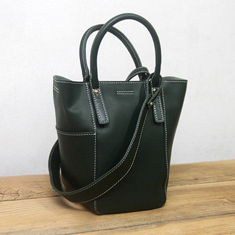 Green LEATHER WOMEN Bucket Handbag Barrel Shoulder Purses FOR WOMEN