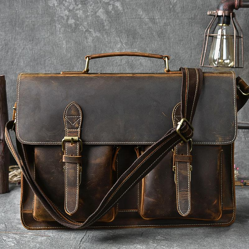 "Vintage Leather Mens 14"" Brown Laptop Briefcase Business Brown Briefcase For Men"