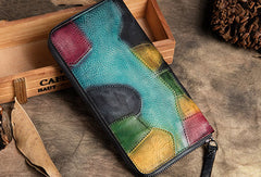 Handmade Long Leather Wallet Stitching Contrast Color Vintage Wallet Zip Clucth Purse For Men Women