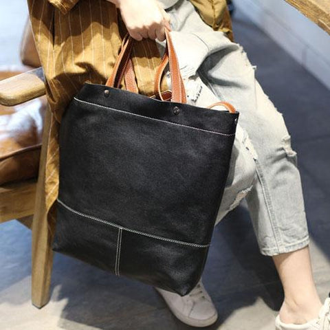 Fashion Womens Black Leather Tote Shoulder Bag Women's Business Tote Work Bag Crossbody Bag