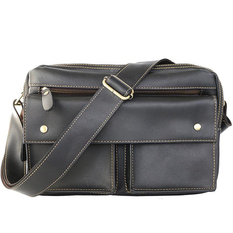 "Black Leather Mens Casual 10"" Courier Bags Messenger Bag Small Postman Bags For Men"