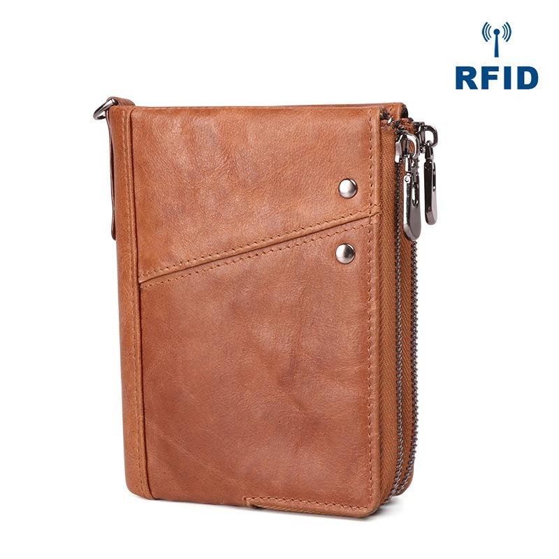 RFID Cool Brown Leather Men's Bifold Small Wallet Zipper Short Wallet For Men
