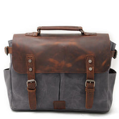 Waxed Canvas Leather Mens Waterproof Black 14'' Camera Bag Shoulder Bag Messenger Bag For Men